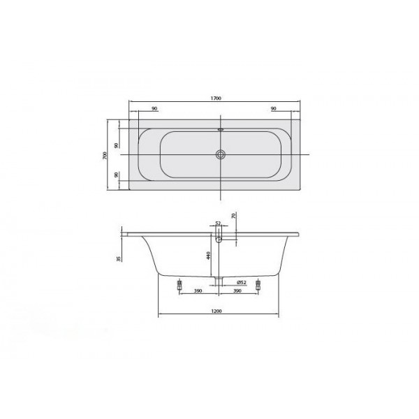 Villeroy&Boch Ванна 170х70см Loop&Friends Square UBA177LFS2V-01