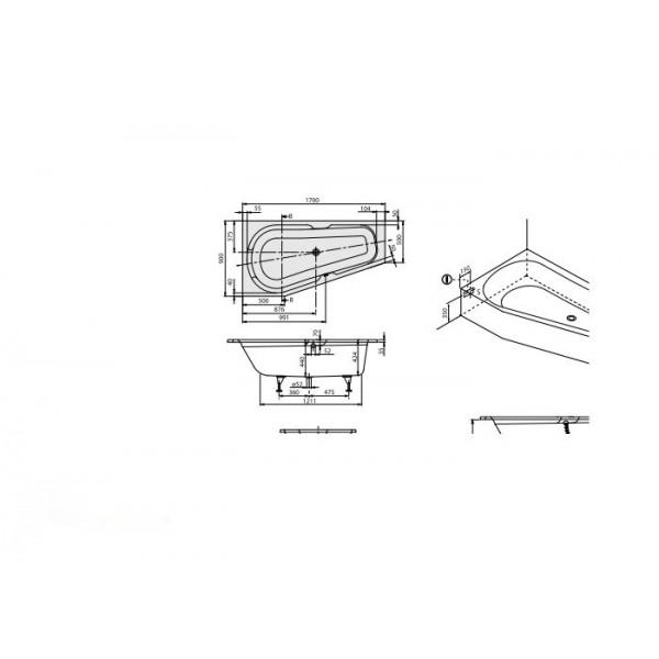 Villeroy&Boch Ванна 170х90см левая белая Rebana UBA170PAR3LIV-96.61.PCS