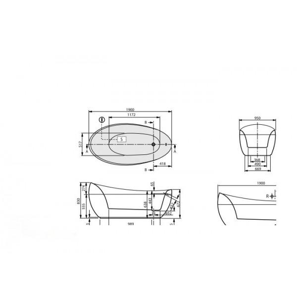 Villeroy&Boch Ванна свободностоящая 190х95см Aveo UBQ194AVE9PDV-01.61.WAE.PO1