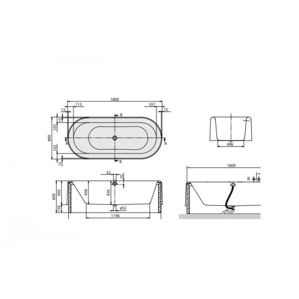 Villeroy&Boch Ванна 180x80см с панелью Nexion UBQ180NEO7APV-96