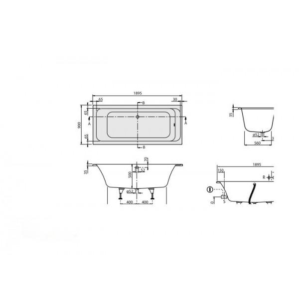 Villeroy&Boch Ванна 190х90см Omnia Architectura UBA199ARA2V-01