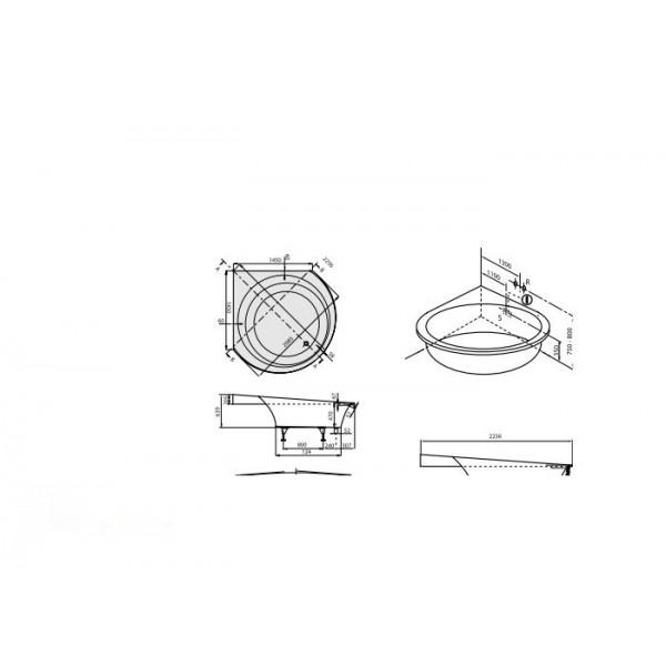 Villeroy&Boch Ванна угловая с панелью Luxxus 138561UBQ145LUX3LHV-01.61.FWE.PO1