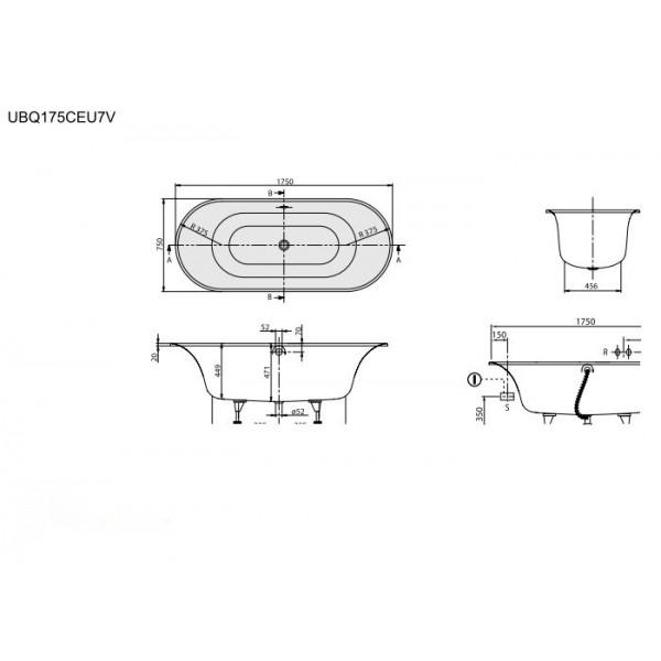 Villeroy&Boch Ванна 175x75 см Cetus UBQ175CEU7V-96