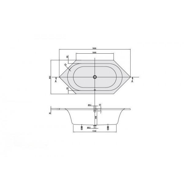 Villeroy&Boch Ванна 190х90см белая без ножек Loop&Friends Duo Oval UBA199LFO6V-01