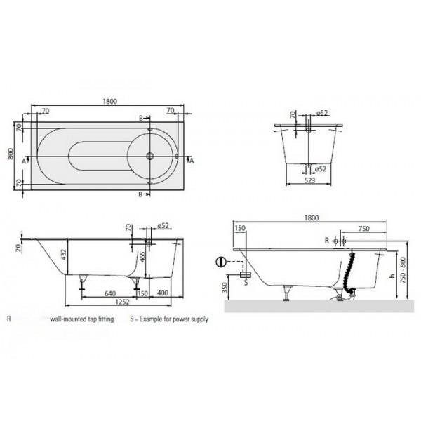 Villeroy&Boch Ванна Libra 180x80 BQ180LIB2V-01