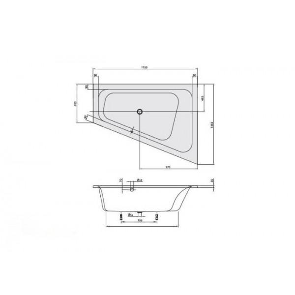 Villeroy&Boch Ванна угловая 175х135см DX Loop&Friends Square UBA175LFS9REV-01