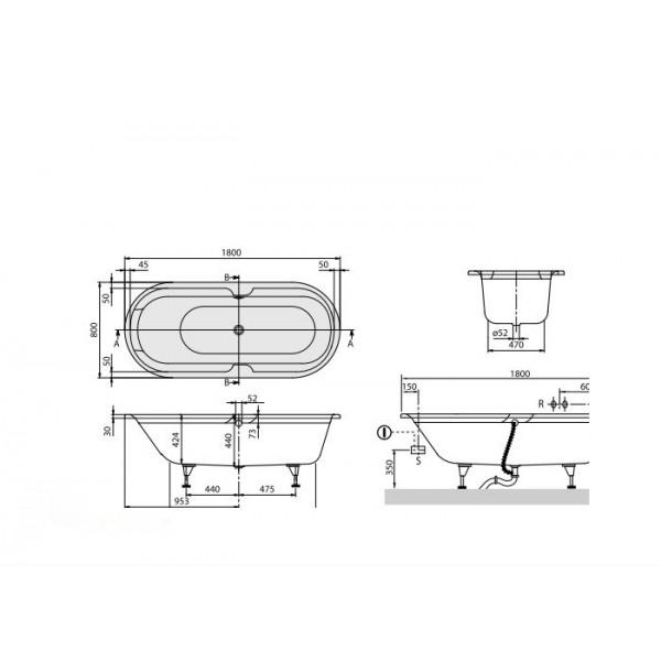 Villeroy&Boch Ванна овал 180х80см Rebana UBA180PAR7V-01