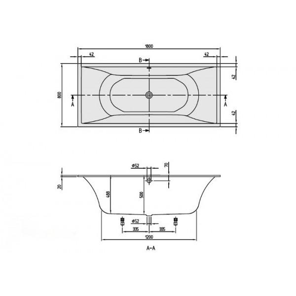 Квариловая ванна Villeroy&Boch La Belle 180x80 UBQ180LAB2V-01