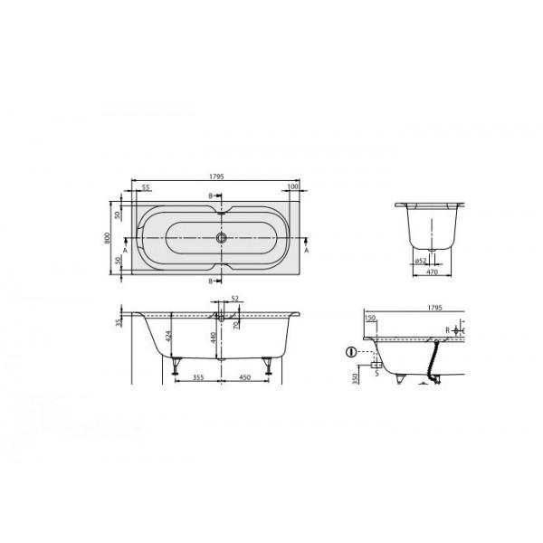 Villeroy&Boch Ванна 180х80см Rebana UBA180PAR2V-01.61.PCC