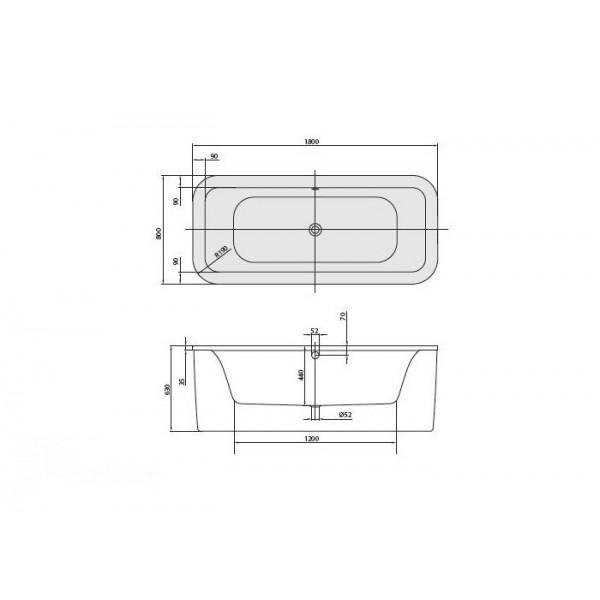 Villeroy&Boch Ванна 180х80см Loop&Friends Square Duo UBA180LFS7PDV-01