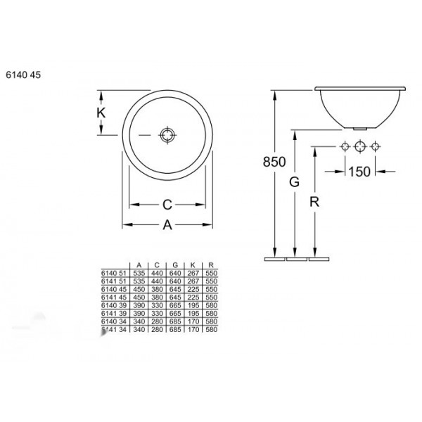 Villeroy&Boch Раковина встраиваемая d.45см с переливом Loop&Friends 6140 4501
