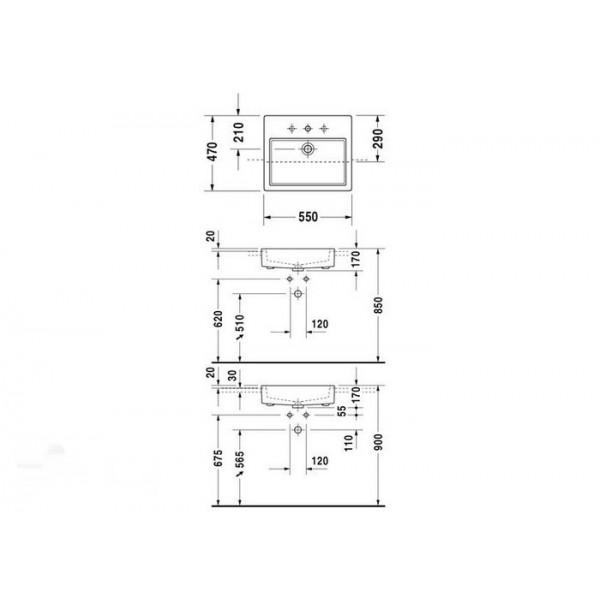 Duravit Раковина полувстроеннная белая VERO 03145500001-WG