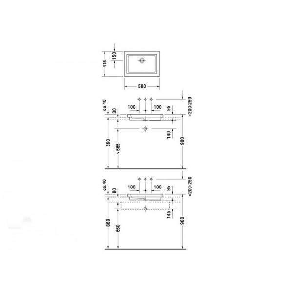 Duravit Раковина белая 2nd FLOOR 03175800291-WG