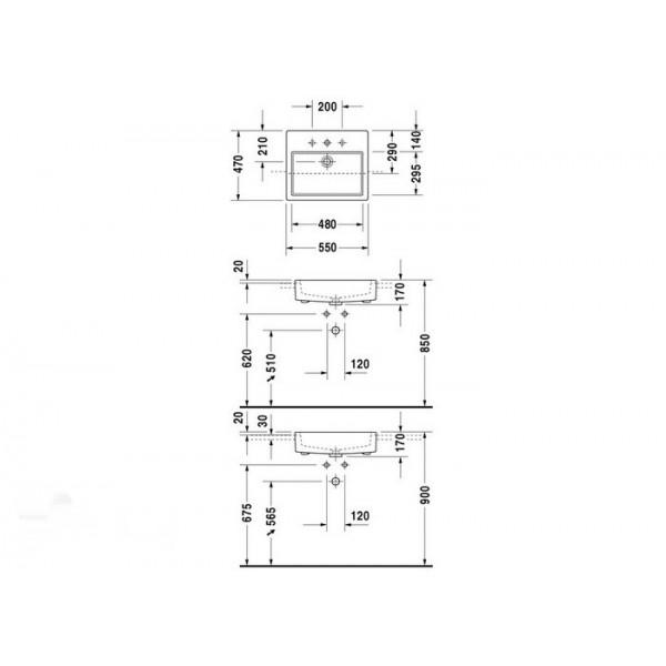 Duravit Раковина полувстроенная белая VERO 0314550000