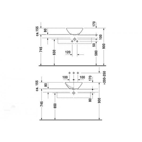 Duravit Раковина для мебели BACINO 03254200001-WG
