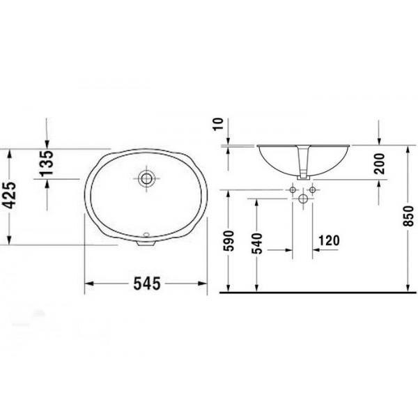 Duravit Раковина встроенная SANTOSA 04665100001-WG