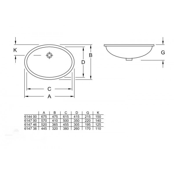 Villeroy&Boch Раковина встроенная Evana 6147 46R1