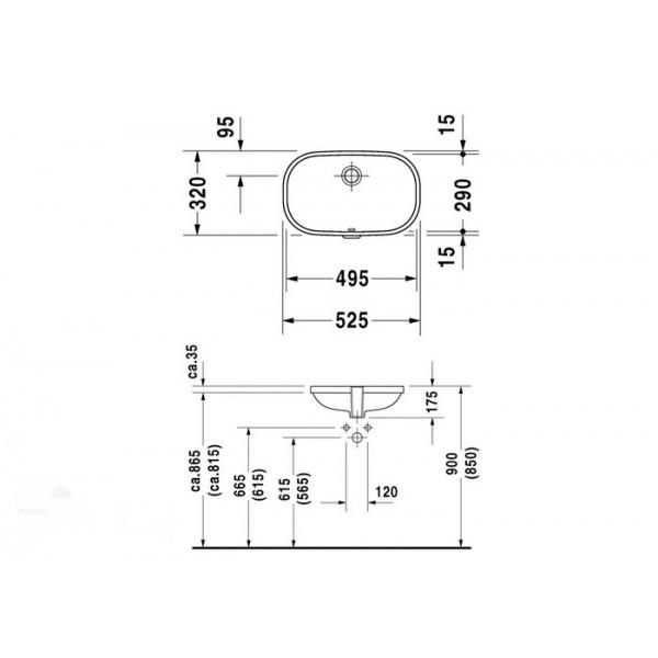 Duravit Раковина встроенная D-CODE 0338490000 (033849)