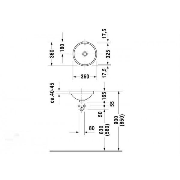 Duravit Раковина встраиваемая белая ARCHITEC 0319320000