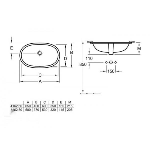 Villeroy&Boch Раковина встроенная O'novo 4162 6001