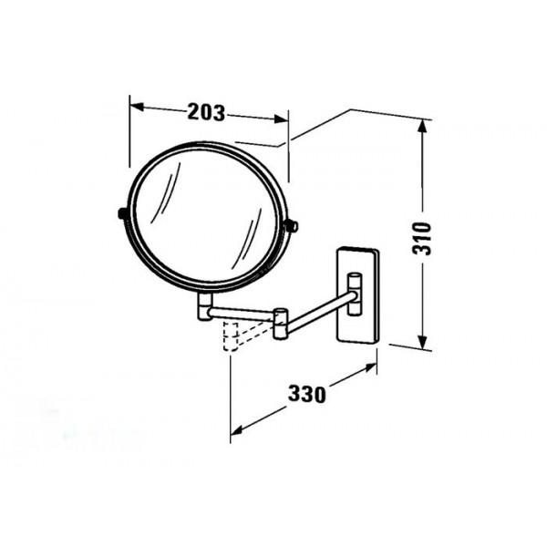 Duravit Зеркало телескопиеское для бритья настенное D-CODE 0099121000