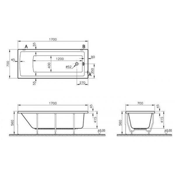 Ванна акриловая Vitra Neon арт. 52530001000, 170*70 см