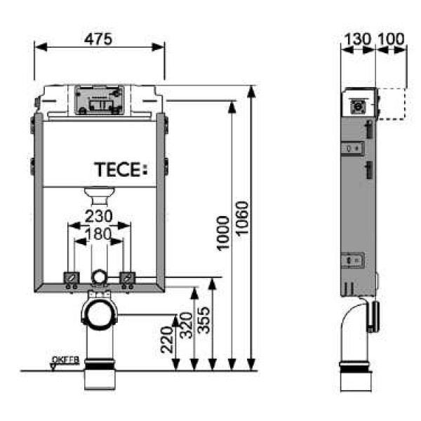 Бачок смывной Tece TECEbox арт. 9 370 000 для подвесного унитаза