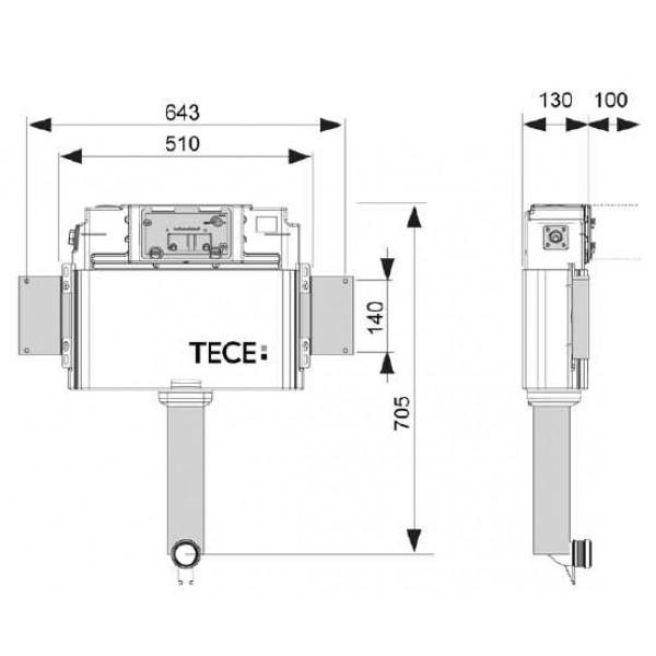 Застенный смывной бачок Tece TECEprofil арт. 9 041 008 для напольного унитаза
