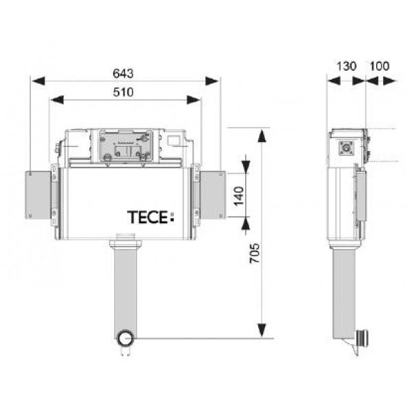 Бачок смывной TECE, арт. К 041 802, для установки напольного унитаза, 2 в 1