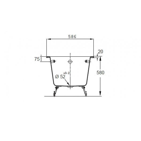 Ванна Jacob Delafon Parallel E2948-00, 170*70 см, с отверстиями для ручек