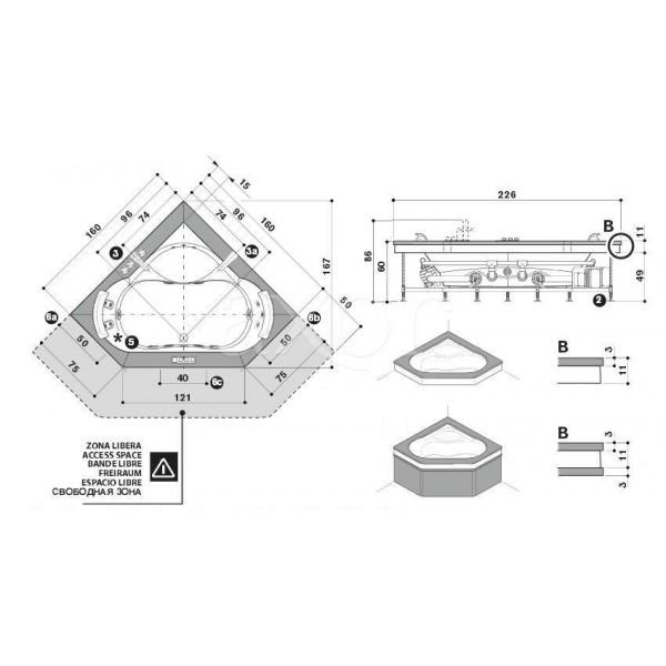 Акриловая ванна Jacuzzi Aura 160x160