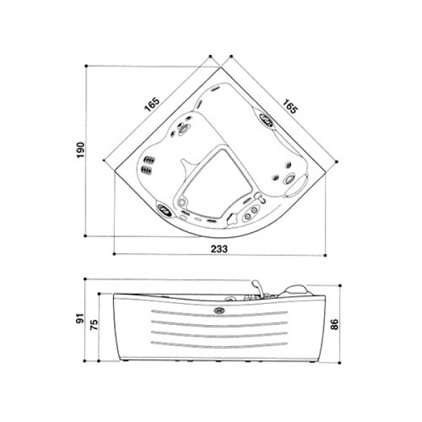 Акриловая ванна Jacuzzi Maxima 165x165