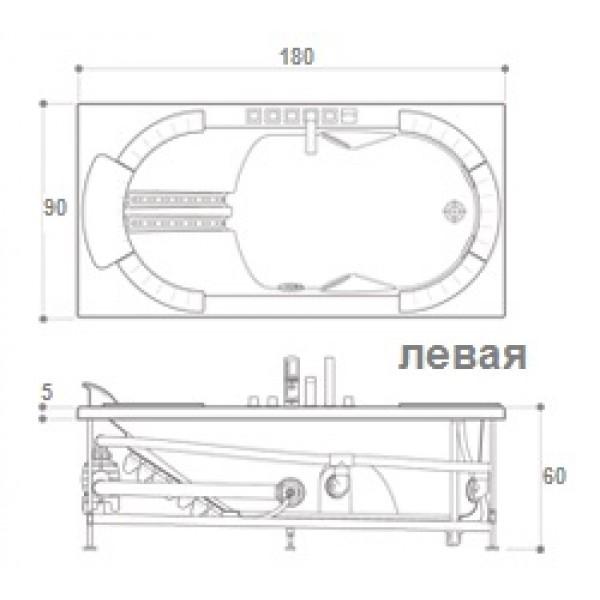 Акриловая ванна Jacuzzi J.Sha Mi 180x90 DX 9C43-359A, правая