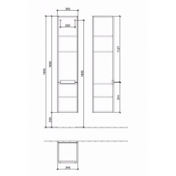 Шкаф-пенал Villeroy&Boch Subway 2.0 A710 00 DH, белый глянец